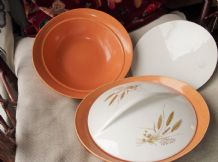 2 X VINTAGE TUREENS & LIDS BRISTOL POTTERY HARVEST HOME ORANGE BOWL WHEAT LID